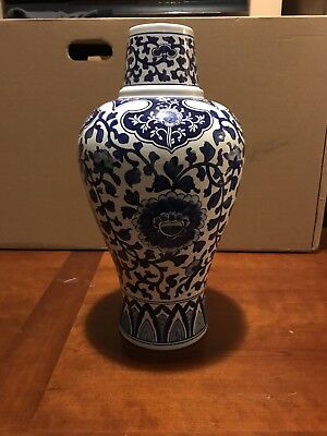 "Large Vintage Chinese Oriental Asian Hand Painted Vase Taiwan ROC Stamp 16"" Tall"