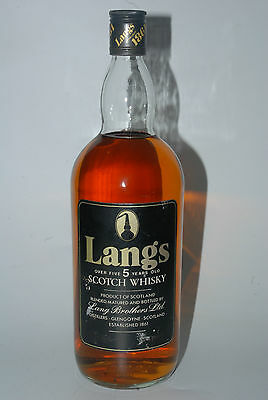 WHISKY LANGS 5 YEARS OLD GLENGOYNE BLENDED SCOTCH WHISKY  AÑOS 70 100cl RARE