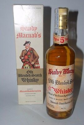 WHISKY SANDY MACNAB´S 5 YEARS OLD BLENDED SCOTCH WHISKY LOCHSIDE  AÑOS 70 75cl.