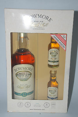 WHISKY BOWMORE 12 YEARS OLD IN BOX 70cl. + 2 MIGNON MINIATURE 15 Y 17 YEARS OLD