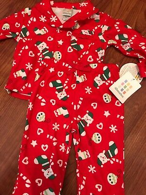 NWT 12 months infant baby Red Absorba Christmas Pajamas Ruffles flannel