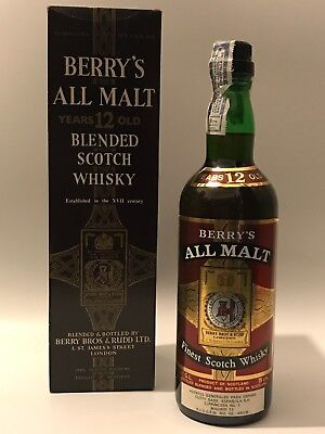 WHISKY BERRY´S ALL MALT12 YEARS OLD FINEST SCOTCH WHISKY  IN BOX AÑOS 70 75cl.