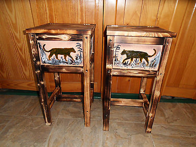 Set of 2 mountain lion cougar puma table nightstand end table  Maine made
