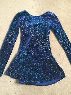 childs navy blue sparkly mondor skating / dance costume fit age 10-12