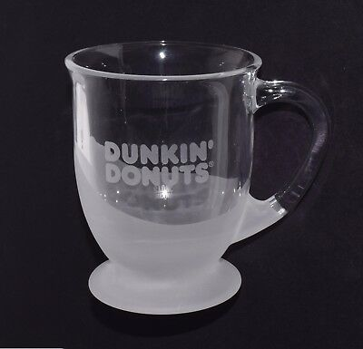 Dunkin' Donuts 12oz. clear Glass Mug coffee cup gift NEW IN BOX 881334009385