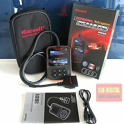 i908 iCarsoft VAG CAN UDS Diagnosegerät VW Audi Seat Skoda A3 A4 A6 A8 deutsch