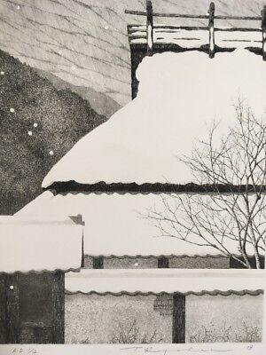 TANAKA RYOHEI - 1979 Snowing Roof 1/12 AP Signed & Numbered Etching ! Large !