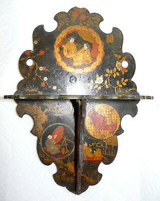 Antique Chinoiserie decorated black lacquered papier mache wall shelf