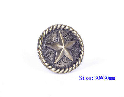 30*30Mm 6Pcs Round Rope Edge Western Texas Star Antique Silver & Brass Conchos
