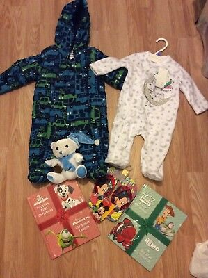 New Christmas Gift Baby Boys Clothes Bundle 3-6 Months Disney Sleepsuit Snowsuit