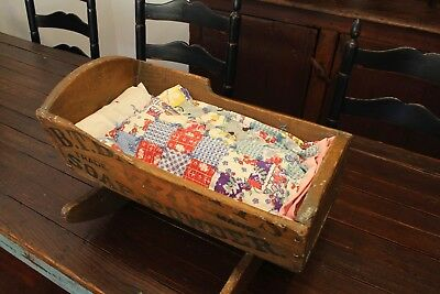 Early Antique Aafa Folk Art Doll Cradle Feather Pillow Quilt Textile Old Crates