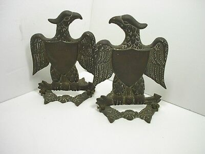 Vintage Cast Metal or Bronze Eagles Old Patina For Re-purpose 5-1/2 inches Tall