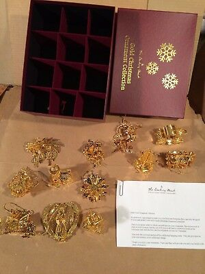 Danbury Mint  23K Gold Christmas Ornaments Collection Complete Box Set of 12