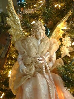 ROMAN Inc CHRISTMAS ANGEL Victorian Look Hanging Tree Ornament fabric/resin