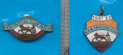 NSW Trotting Club 1921-22 Matching Ladies And Gents Matching Badges