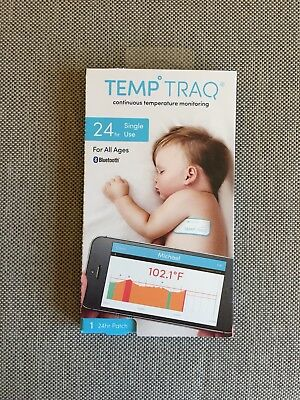 New Temp Traq 24 Hr Single Use Patch Bluetooth Thermometer Expires 2018