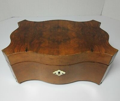 Antique 19Th Century Wood Shaped Sewing Box Oyster Veneer