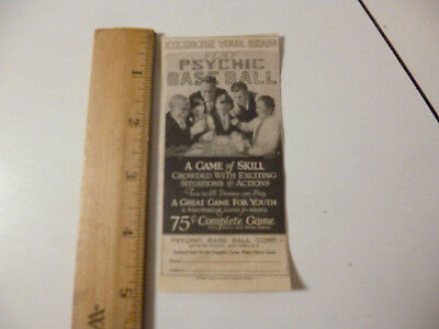Antique 1927 Psychic Base Ball Game Original Print ad
