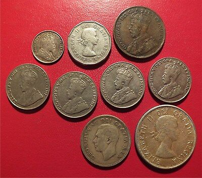 Lot Of 9 Nice Old Canadian Coins, Some Silver. No Reserve Auction.   Rml02
