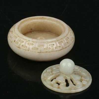 Chinese Exquisite Hand-carved Jadeite jade Small incense burner