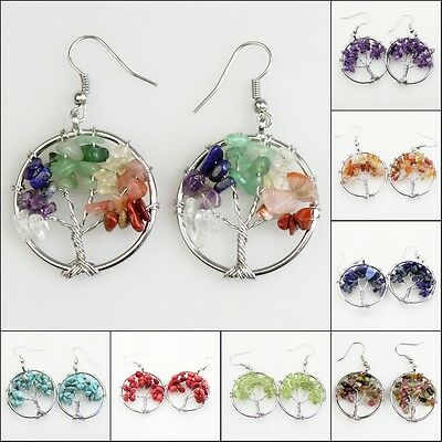 Natural Gemstones Chip Beads Tree of Life Reiki Chakra Healing Silver Earrings