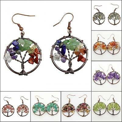Natural Gemstones Chip Beads Tree of Life Reiki Chakra Healing Copper Earrings