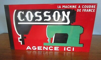Vintage Enamel Double Sided Sign Cosson Sewing Machine Non-Singer