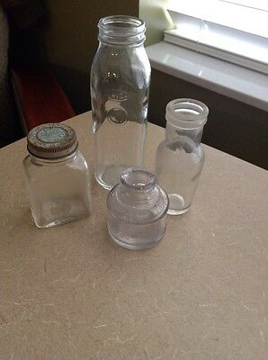 Vintage Lot 4 Clear Glass Bottles 8 Oz. Davol Feed Rite Nurser Health Products