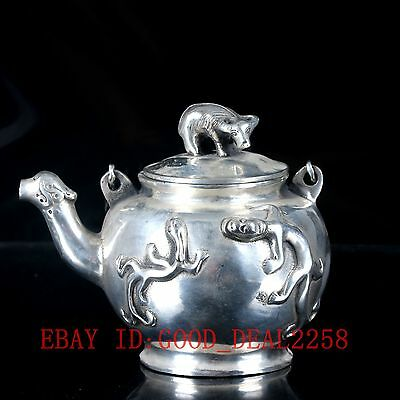 Old Chinese Silve Copper Hand Carved Teapot With  Ming XuanDe Mark BT080