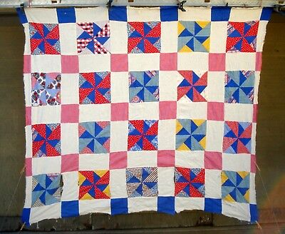 Vintage 30's 40's windmill quilt top