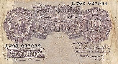 UK  10/-  ND. 1940  P 366 Series L 70D  circulated Banknote 2D2