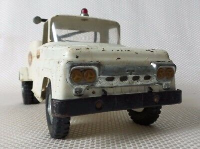 Great Vintage 1950's TONKA White Pressed Steel Tow Truck Toy - 14""