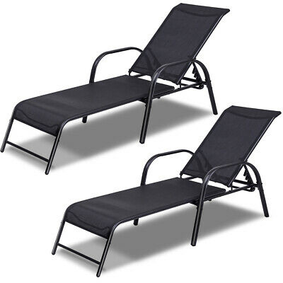Set of 2 Patio Lounge Chairs Sling Chaise Lounges Recliner Adjustable Back New