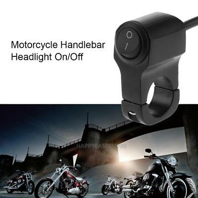 Waterproof Aluminum 12V 7/8in Motorcycle Handlebar Headlight On/Off Switch+LED