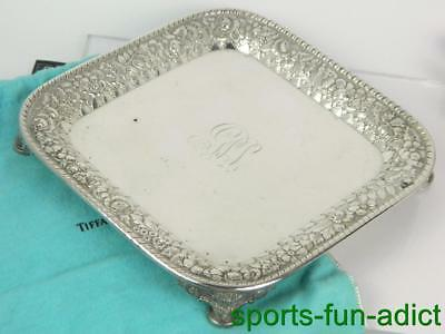 TIFFANY & CO MAKERS Repousse Floral (M) Sterling Silver Footed Dish Tray # 7102