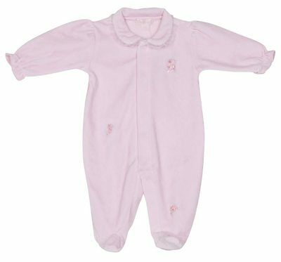 Kissy Kissy Scattered Rose Bows Velour Footie