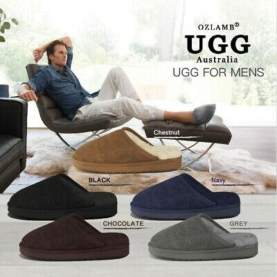 2018 New Premium Wool UGG Mens Classic Scuff/Slipper(Black/Chocolate/Navy/Grey)