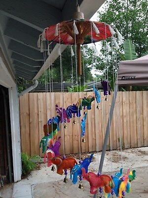 Thai Handmade Hanging Umbrella Mobile Paper Saa Wood Paper Colorful Elephants