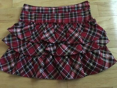 Basic Editions Girls Holiday/Christmas  Red/Black Plaid Short Skirt, size 7