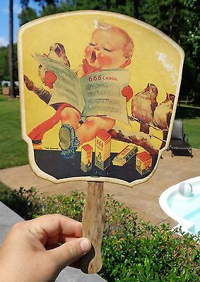Vintage Advertising Paper & Wood Personal FAN 666 Salve First Aid Drug Store