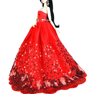 Elegant Red Dress with Gold Sequins Fit for Barbie Doll Party Dress Kids GUev