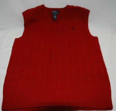 Polo Ralph Lauren Boys Red  V-Neck Sweater Vest Cable Knit Large 14-16