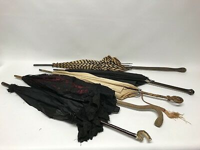 4 Antique Victorian Edwardian Umbrella Parasol Chantilly Lace Bone Wood Carved