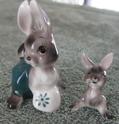 2 Porcelain Miniature Animals -  Hare & Baby  * Please See Photos