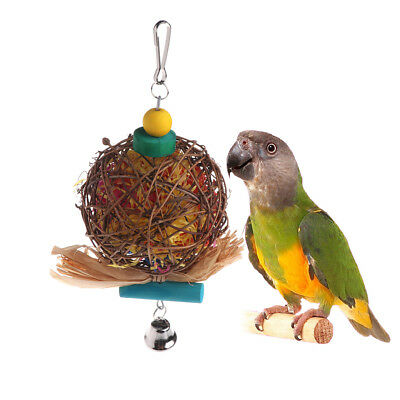 Parrot Bird Bamboo Rattan Play Toy Bell Bite Chewing Strip Colorful Hanging Cage