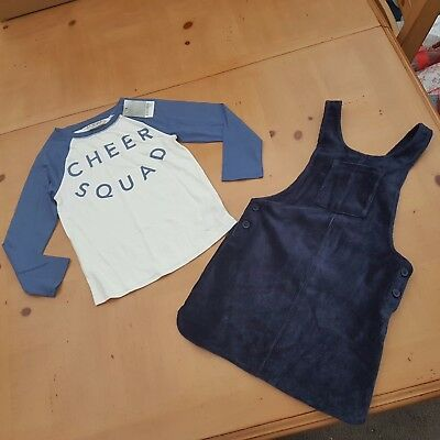 NEXT Girl's Long Sleeve Top, Pinafore Dress Set Size 4 - 5 Years - BNWT