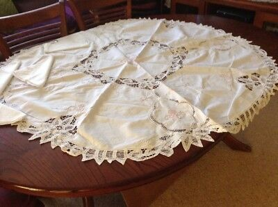 Vintage Round  White Batternburg Lace With Coloured Embroidery  Tablecloth