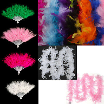 Feather Fan & Luxurious 2m Feather Burlesque Gangster Boa Fancy Hen Night Party