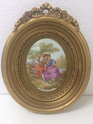 Vtg B & S CREATIONS FRAGONARD PORCELAIN CAMEO VICTORIAN COURTING COUPLE 7x8 1/2