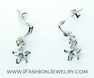 Shiny Silver Tone Spiral Star Flower Small Hollow Drop Dangle Earrings Jewelry